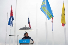 Oct. 13, 2011 - Guadalajara, Mexico - ALAN ASHLEY, Chief of Sports Performance at the United States Olympic Committee (USOC) speaks at the American flag-raising ceremony at the Pan American Athletes Village.