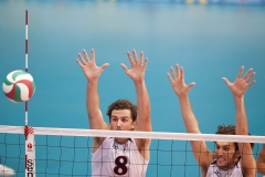 Oct. 28, 2011 - Guadalajara, Mexico - KYLE CALDWELL and NICHOLAS VOGEL of the United States of America jump to block a ball during their men's volleyball placement match, part of the Pan American Games. The United States of America won over Venezuela 3 sets to 2.