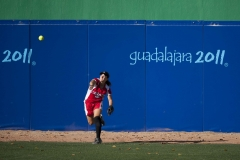 Oct. 22, 2011 - Guadalajara, Mexico - HEATHER EBERT of Canada throws the ball in from right field during Canada's softball semifinal game against Venezuela. Canada won the game 11 to 1 over Venezuela, and will face Cuba tomorrow to determine who will take bronze and who will play against the United States of America for the gold medal.