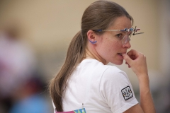 Oct. 16, 2011 - Guadalajara, Mexico - DOROTHY LUDWIG of Canada after completing the Women's 10M Air Pistol qualifying round. Ludwig achieved the second highest score in the qualifying round 380 and will advance to the finals.