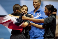 Oct. 17, 2011 - Guadalajara, Mexico - The Dominican Republic team celebrates after winning gold in the women's Team Table Tennis finals, part of the Pan American Games. The Dominican Republic won gold in the event with three wins and two losses in 1 hour 38 minutes of play.
