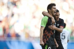 Oct. 23, 2011 - Guadalajara, Mexico - ORIBE PERALTA and JERONIMO ARTURO AMIONE of Mexico react after Peralta scored during the second half of their soccer (football) match Mexico vs Uruguay, part of the Pan American Games. Mexico won the match 5-2 over Uruguay.