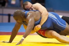 Oct. 23, 2011 - Guadalajara, Mexico - TERVEL DLAGNEV of the United States of America takes down DISNEY RODRIGUEZ of Cuba during their 120Kg weight class wrestling match, part of the Pan American Games. Dlagnev won the match for the USA 3-0 over Rodriguez of Cuba.