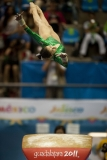 Oct. 25, 2011 - Guadalajara, Mexico - Elsa Garcia of Mexico competes on the vault during the women's artistic gymnastics individual final at the Nissan Gymnastics Complex, part of the Pan American Games.