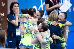 Oct. 16, 2011 - Guadalajara, Mexico - The Cuban team celebratees after winning the Team Rhythmic Gymnastics, two hoops three ribbons, finals, part of the Pan American Games. Cuba won gold in the event with a score of 23.575